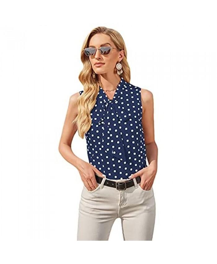 Milumia Women's Elegant Polka Dots Bow Tie Neck Sleeveless Blouse Office Work Top