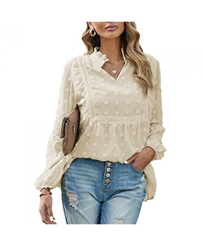 MulEtour Womens Casual V Neck Chiffon Lantern Sleeve Blouse Elegant Swiss Dot Tunic Top Shirt Loose Fit