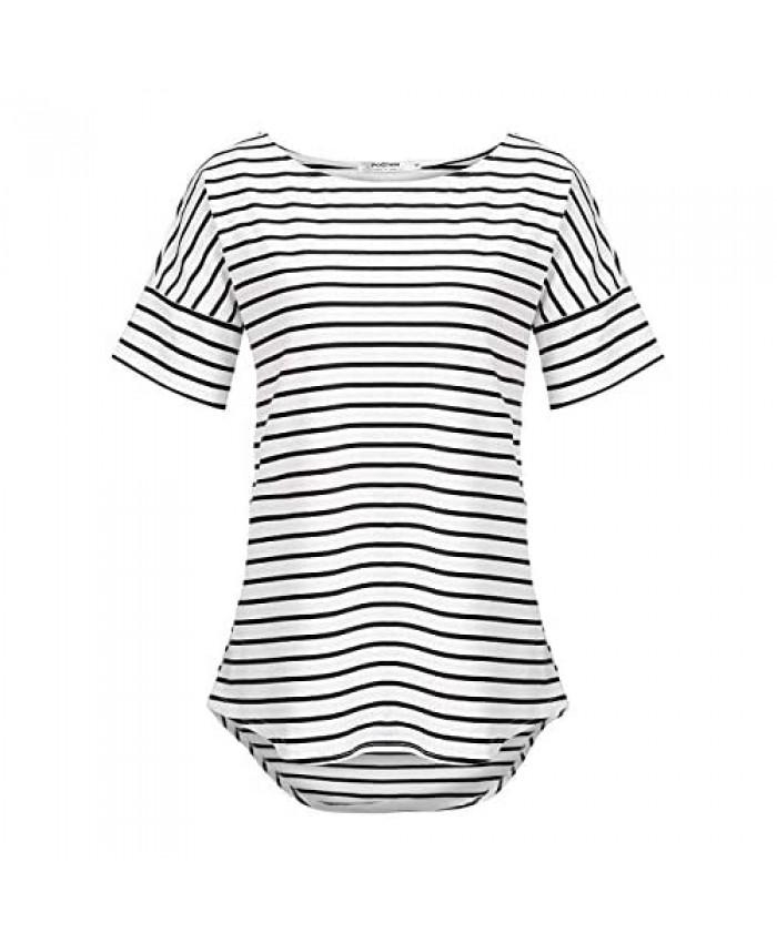 POGTMM Women's Casual Raglan Short Sleeve Patchwork Striped Cotton Shirts Loose T-Shirt Tunic Tops