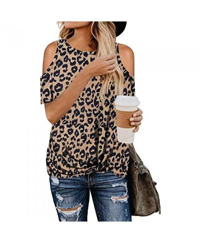 QACOHU Women's Summer Leopard Print Tops Short Sleeve Casual Cold Shoulder Twist Blouses