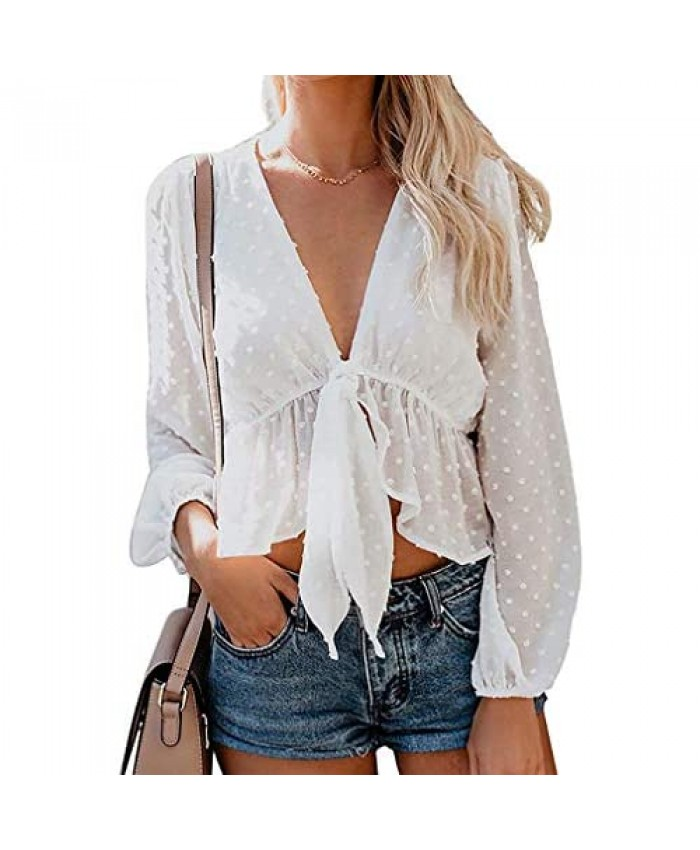Qearal Women's Fall Tie Knot Crop Top Long Sleeve Deep V Neck Ruffle Sexy Blouse Shirt