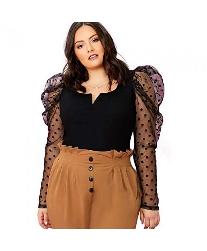 Romwe Women's Plus Size Elegant Mock Neck Dobby Mesh Puff Long Sleeve Slim Fit Blouse Tops
