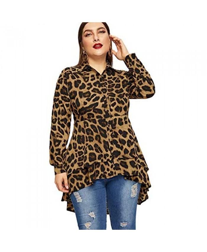 Romwe Women's Plus Size Leopard Print Long Sleeve High Low Button Down Longline Peplum Blouse