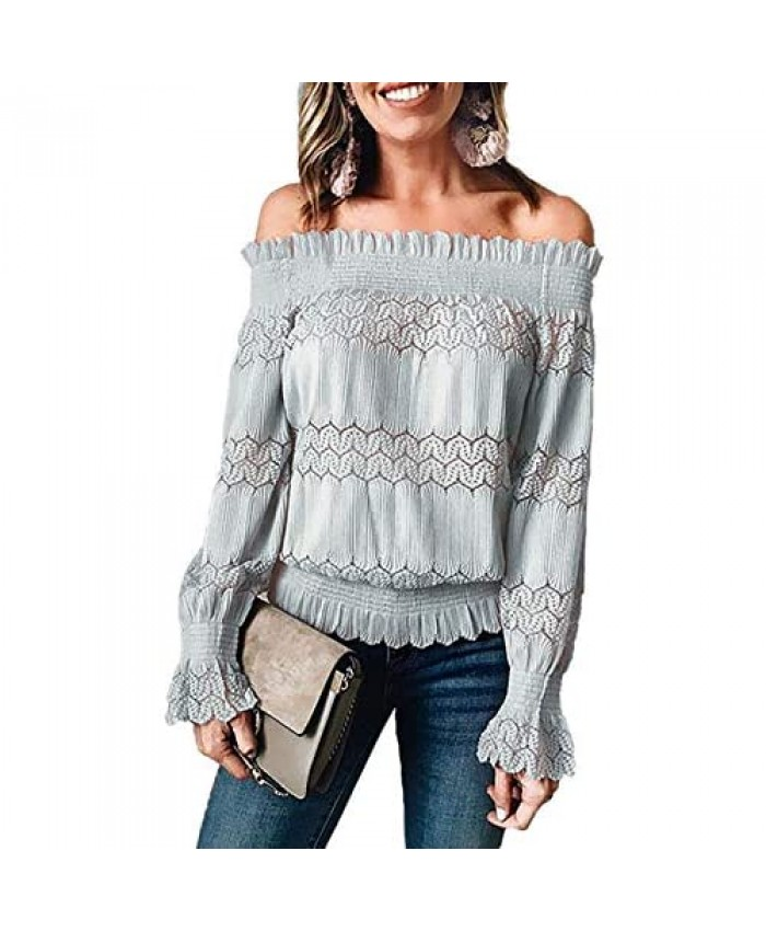 ROSKIKI Women's Sexy Stretchy Off Shoulder Ruffle Long Sleeve Smocked Waist Lace Crochet Chic Blouse Tops Shirt