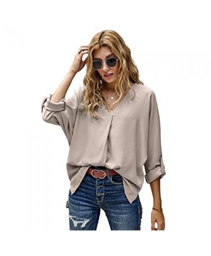 roswear Women's V Neck 3/4 Sleeves Curved Hem Blouse Shirt