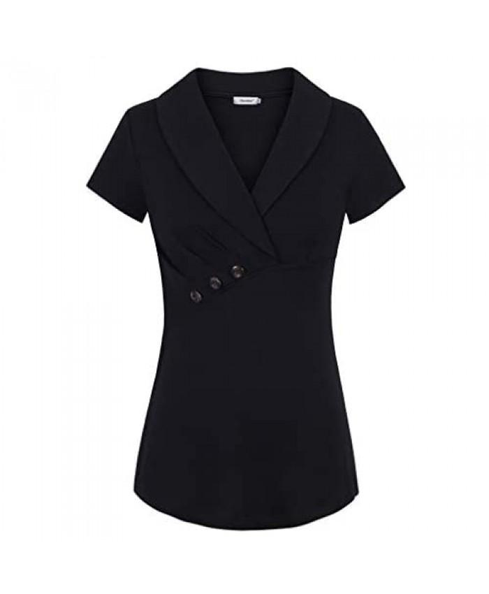 Sixother Women Short Sleeve Office Blouses V Neck Summer Tops Vintage Suit Shirt