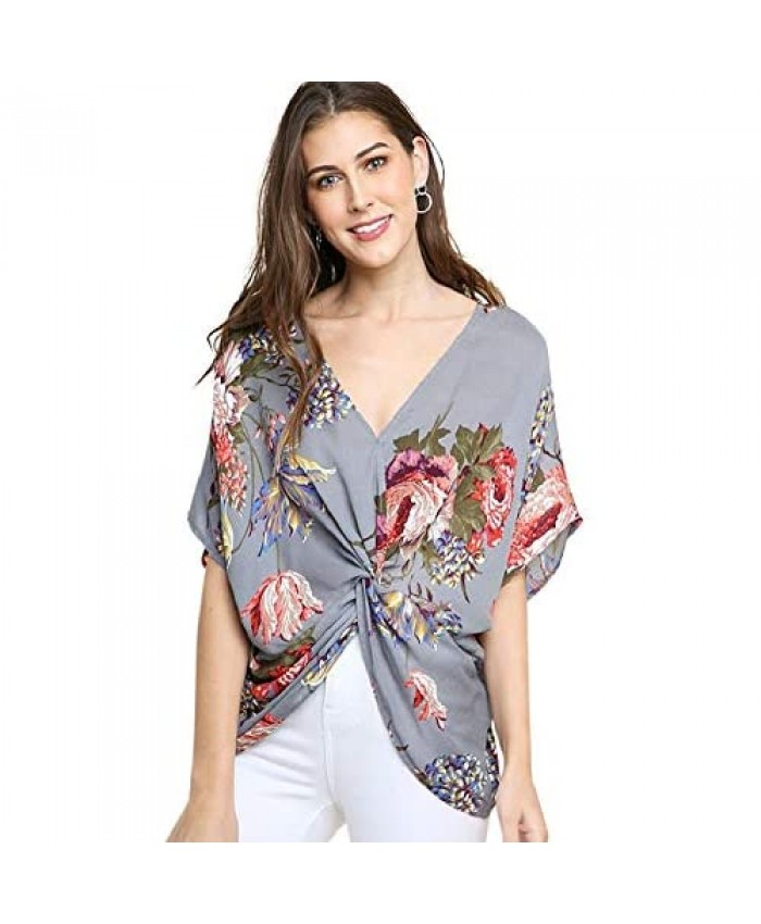 Twisted Sister! Great Floral Print Reversible Knot Top