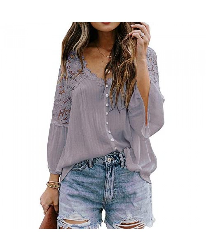 VENTELAN Women's V Neck Lace Crochet Blouse Tops Loose Flowy Bell Sleeve Button Down T Shirts Purple X-Large