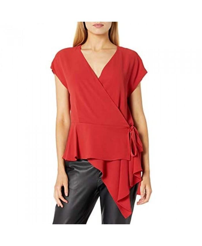 Vince Camuto Women's Extend Shoulder Wrap Front Peplum Blouse