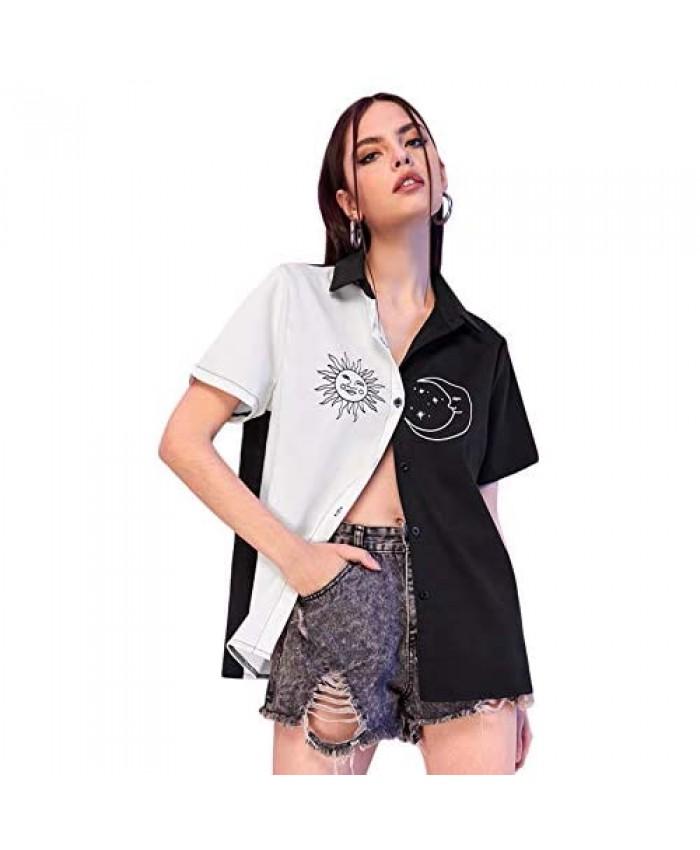 WDIRARA Women's Plaid Button Front Short Sleeve Crop Shirt Collar Blouse Top
