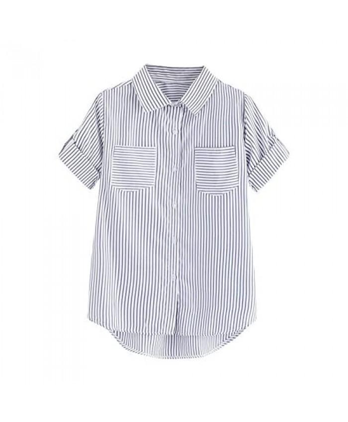 WDIRARA Women's Striped Button Front Short Sleeve Shirt High Low Pocket Top