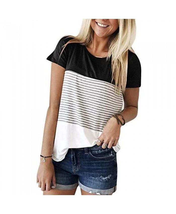 Ajj Women's Round Neck Short Sleeve Blouse Triple Color Block Stripe T-Shirt Casual Blouse Black Short Sleeve XX-Large