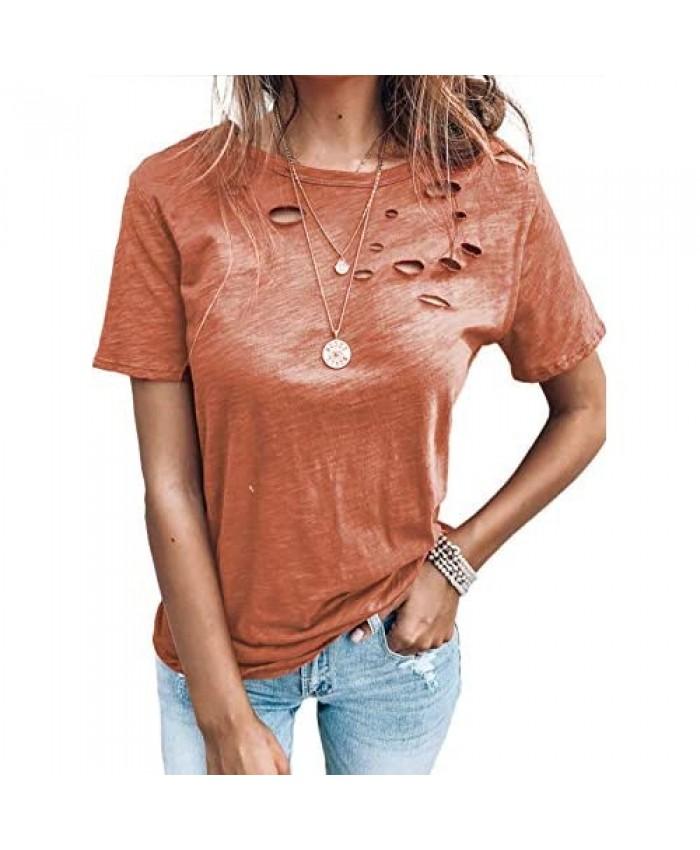 Asvivid Womens Fashion Summer Casual Short Sleeve Shirt O-Neck Ripped Distressed Tee T- Shirt Loose Shirts Basic Tops Orange L