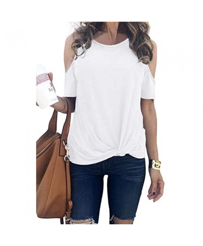 FEKOAFE Women's Sexy Slim Fit Cold Shoulder Tops Casual Short Sleeve Blouses