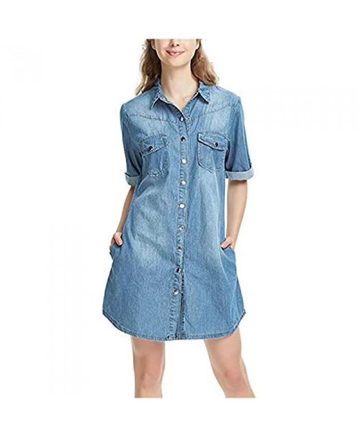 HYSIN Women's Button Down Denim Shift Shirt Dress