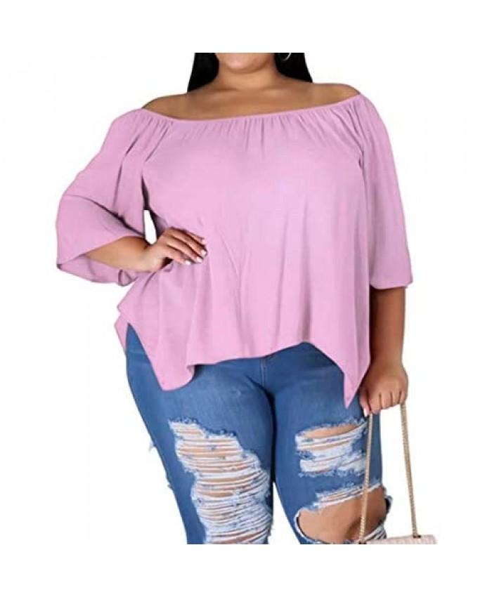 IyMoo Women's Plus Size Off Shoulder Tops Casual Loose Shirt Half Sleeve Irregular Tunics Blouse