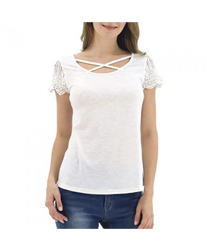 LuluBerry Womens Casual Scroop Neck Cap Sleeve Criss Cross T-Shirt Blouse Tops