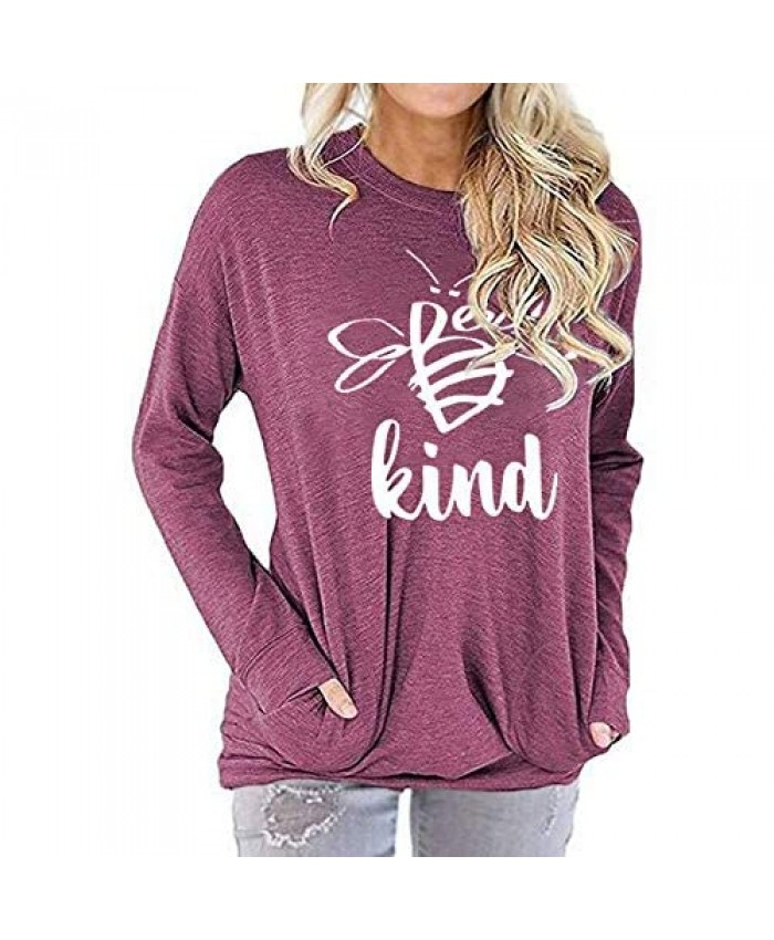MZEAZRK Casual Loose Shirts for Women Long Sleeve Sweatshirts Blouse Baggy Comfy Tunic Tops with Pockets