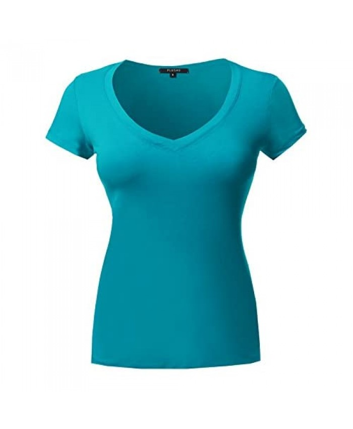 Plus4u Women's Short Sleeve Wide V-Neckline T-Shirt