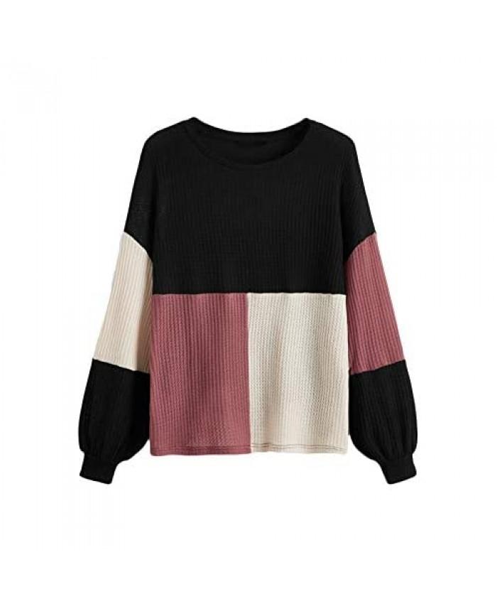 Romwe Women's Plus Size Waffle Knit Shirts Colorblock Long Sleeve T Shirt Tee Tops