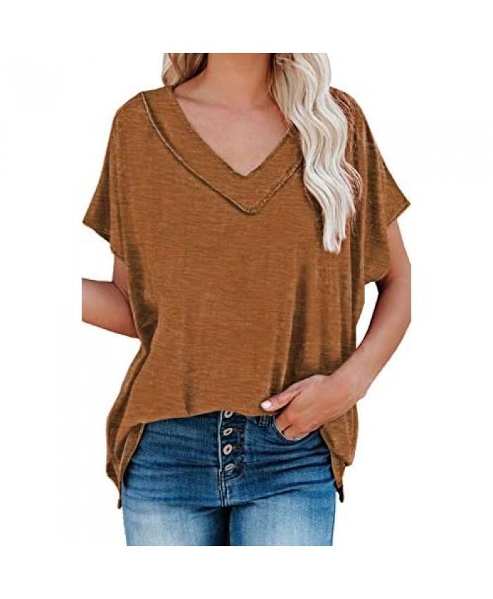 Uusollecy Women Short Sleeve Shirts V-Neck Basic Tee Shirt Casual Summer Tops Shirts for Women Teen Girls Brown X-Large