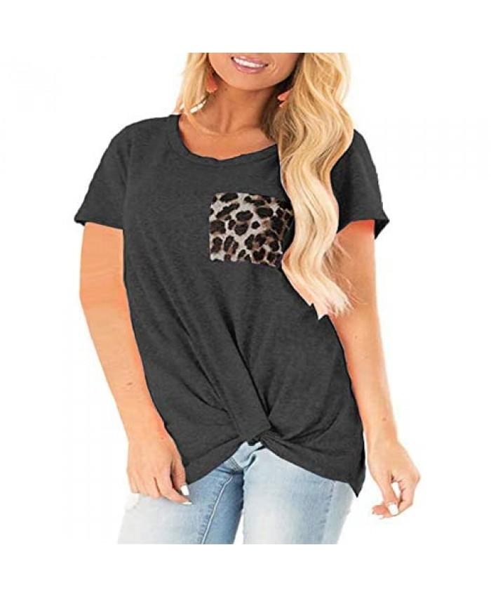 Womens Plus Size Tops Short Sleeve Leopard Block Tee Shirts Tunics Dark Grey-22W