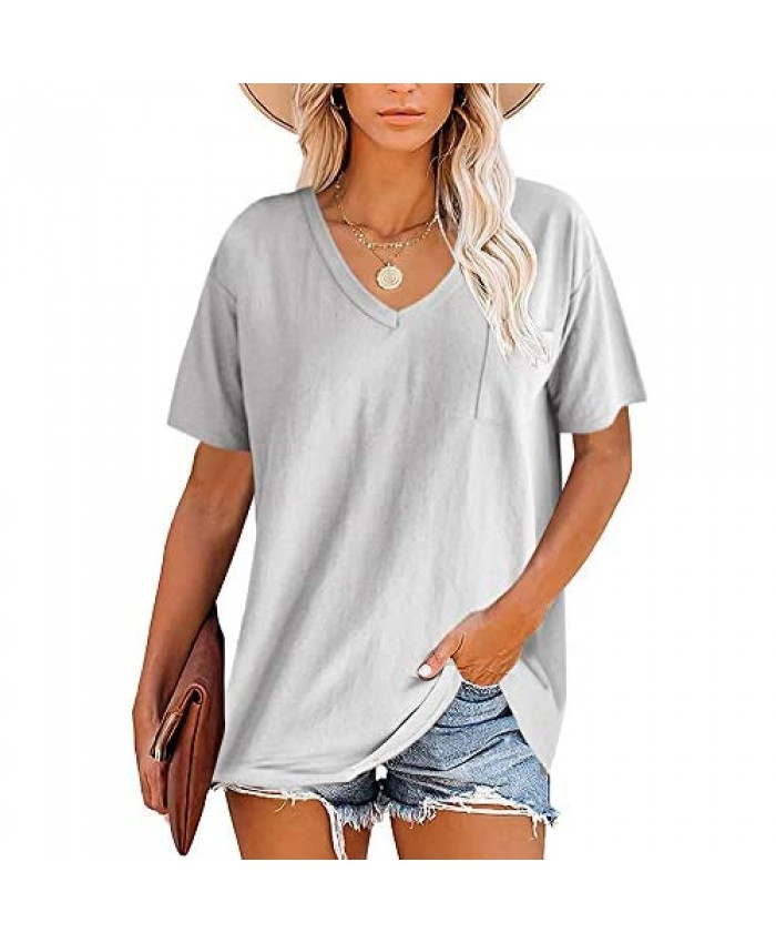 Womens Plus Size V Neck T-Shirts Short Sleeve Casual Loose Workout Tunic Tops Summer Basic Tees with Pocket