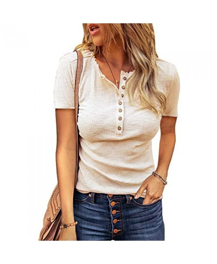 Zecilbo Women's Crochet Button Ribbed Henley Shirts Hollow Out Lace Long Sleeve Casual Tunic Tops