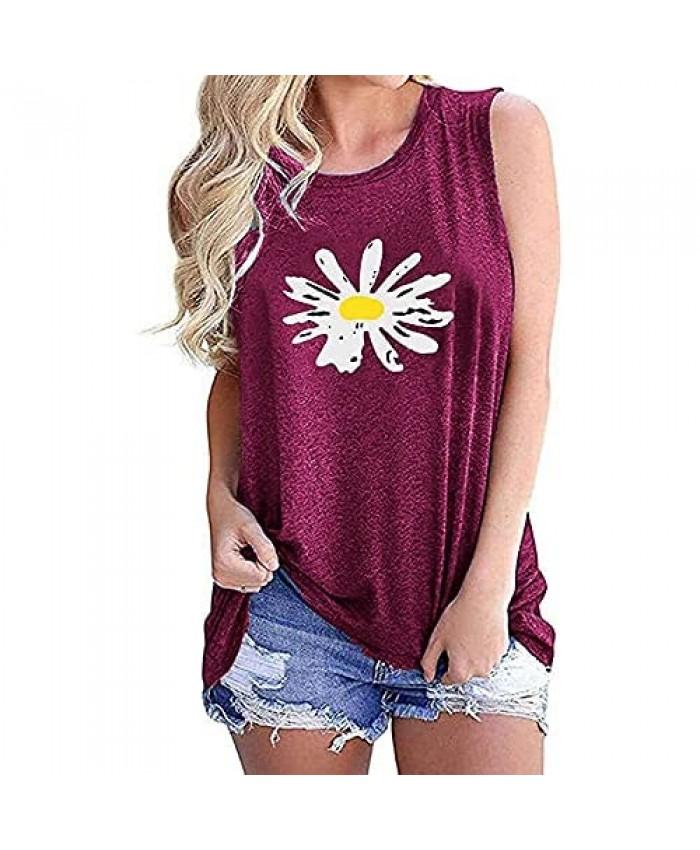 Bealatt Daisy Tank Tops for Women Cute Flower Graphic Print Tank Summer Casual Sleeveless Tops Holiday Shirts
