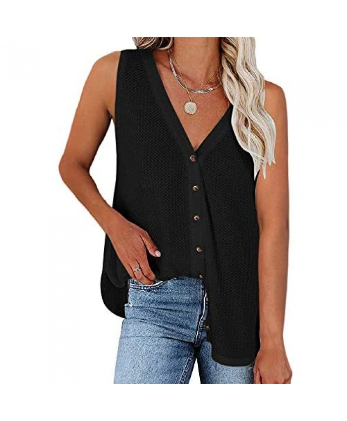 CCBSTS Womens Button Down V Neck Tank Tops Sleeveless Waffle Knit Blouse Shirt Summer Casual Loose Tunic Tees