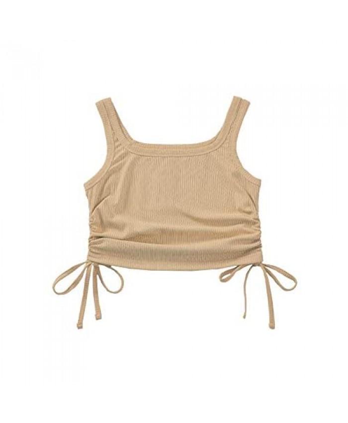 Floerns Women's Sleeveless Side Drawstring Rib Knit Solid Crop Tank Top