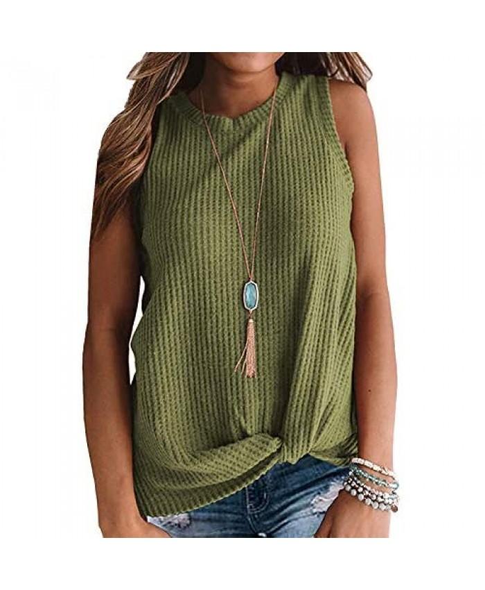 OWIN Women's Waffle Knit Tank Tops Casual Loose Sleeveless Shirts Cute Twist Knot Blouse