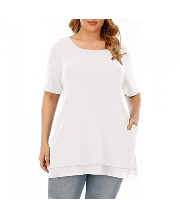 Aksbgg Womens Plus Size Short Sleeve Crew Neck Loose Tunic Shirts Tops with Pocket