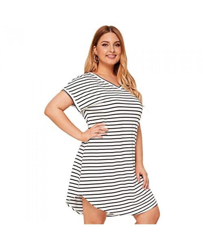 Floerns Women's Plus Size Casual Striped V-Neck Short Sleeve T-Shirt Tunic Dress