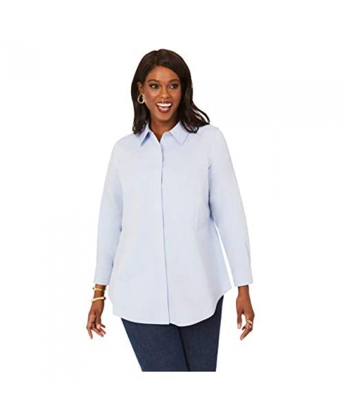 Foxcroft Women's Size Cici Plus Pinpoint Non-Iron Tunic