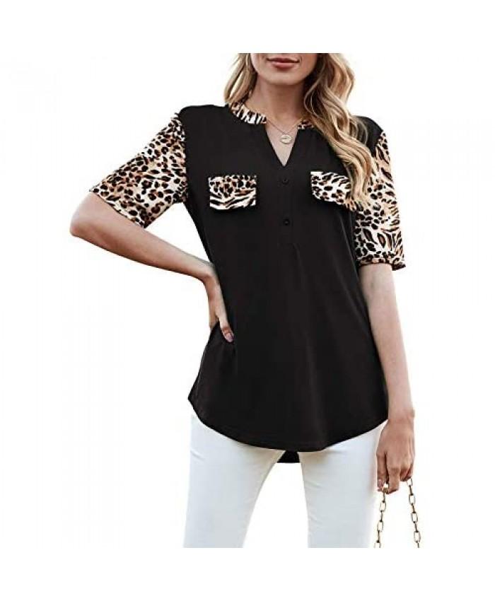 HOCOSIT Women's V-Neck Casual Leopard Tops Print Color Block Short Sleeve T-Shirts Tunic