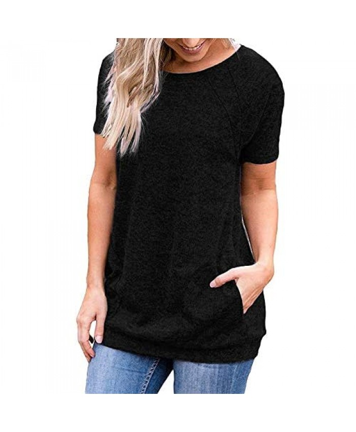 iClosam Women Casual Short Sleeve Tunic Tops Loose Fit T-Shirt with Side Pockets S-XXL