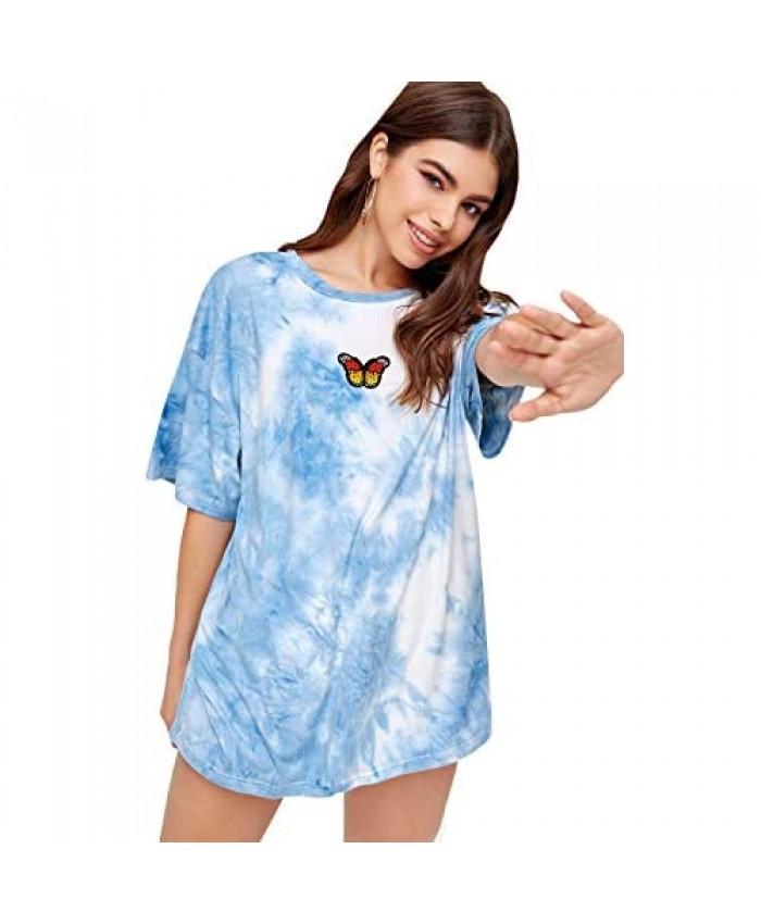 MakeMeChic Women's Loose Butterfly Print Casual Short Sleeve Oversized Top T-Shirt