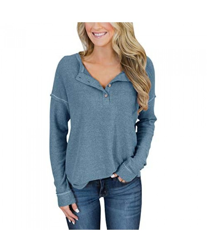 PRETTODAY Women's Long Sleeve Waffle Knit Henley Tops Thermal Button Up Tunics Round Neck Pullovers