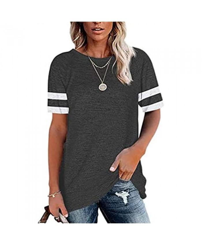 Womens Crewneck T Shirts Short Sleeve Color Block Tunic Tops Casual Loose Tee Shirt Blouses