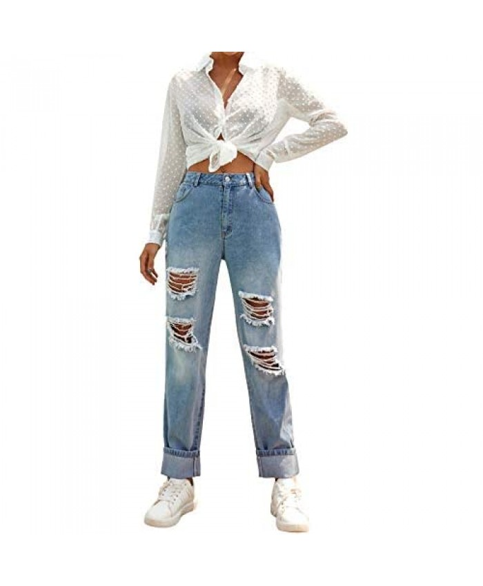 Relipop Women's Ripped Jeans Mid Rise Straight Leg Distressed Denim Rolled Jean Pants with Pockets Casual