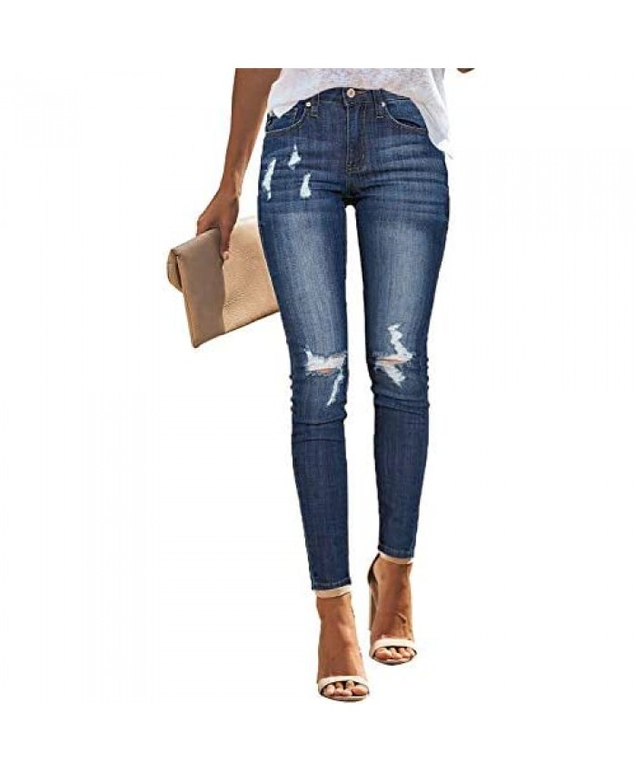 Utyful Women's Stretchy Skinny Jeans Button Slim Fit Ripped Denim Jeans
