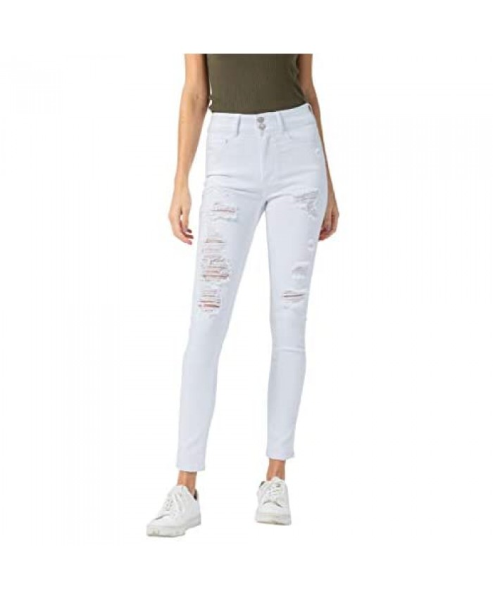 VERVET by Flying Monkey Women's High Rise Double Button Distressed Skinny Ankle Jeans