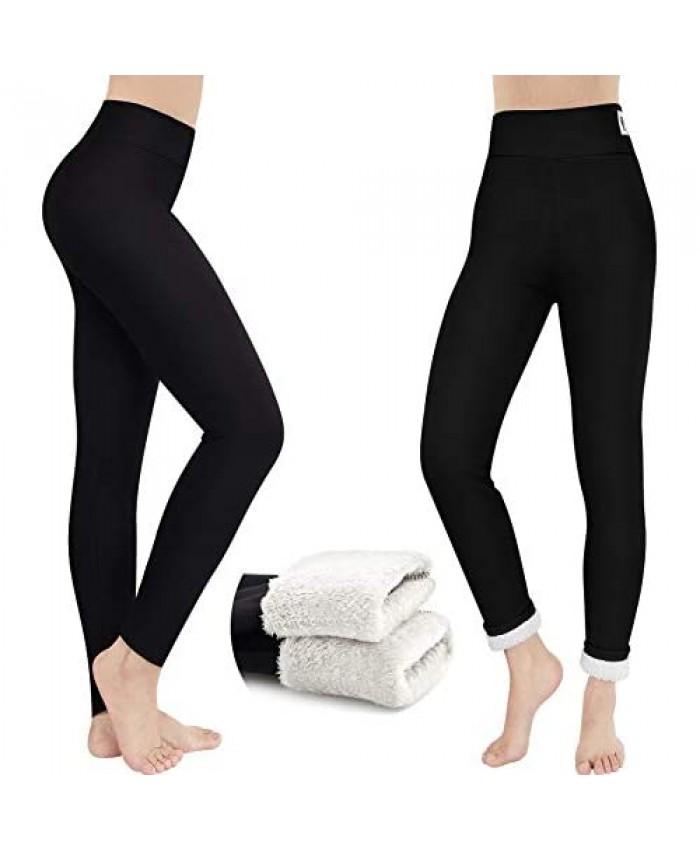 2 Pairs Women Thick Cashmere Leggings Fleece Lined Leggings Winter Plush Warm High Waist Elastic Slim Pants