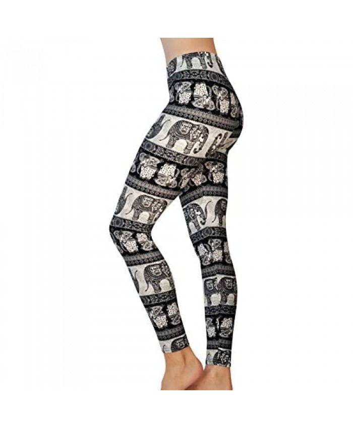 Comfy Yoga Printed Leggings - Super Soft - High Waisted - Black White Blue Fun Prints - Printed Fashion Leggings