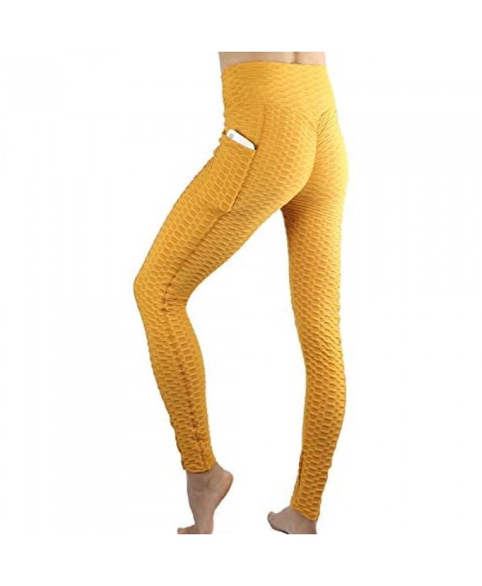 Coolwife Womens Leggings Butt Lifting Workout Pockets High Waisted Textured Outfits Yoga Pants