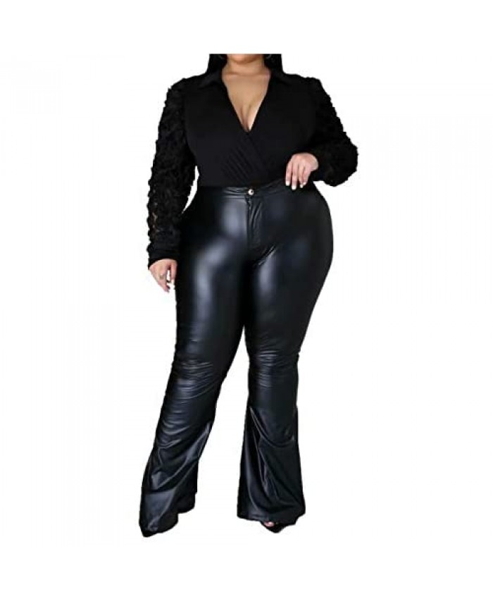 IyMoo Plus Size Faux Leather Leggings for Women High Waisted PU Leather Bell Bottom Pants Stretch Tights