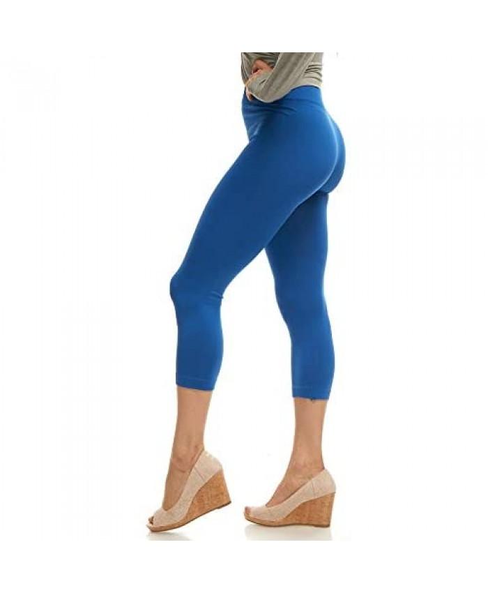 Lush Moda Seamless Capri Length Basic Cropped Legging - Variety of Colors - Royal Blue OS