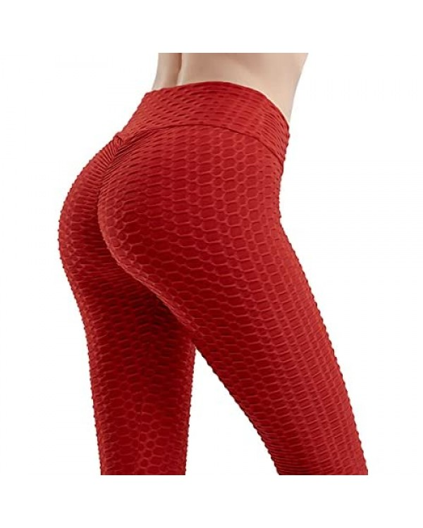 M MAYEVER Womens Yoga Pants Jacquard Bubble Leggings Exercise Fitness Slim Tight Hip High Waist Lifting Anti-Cellulite Tights