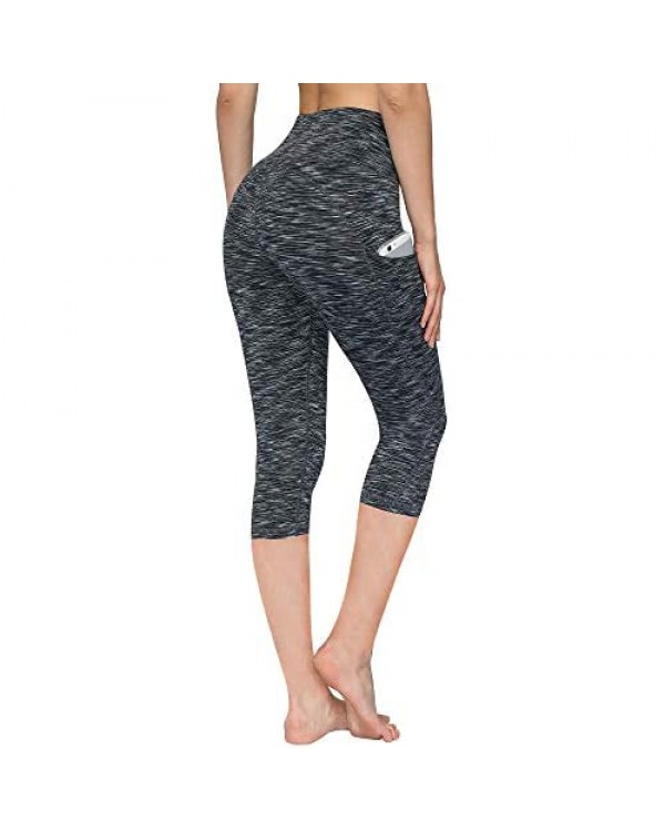 PHISOCKAT High Waisted Pattern Leggings with Pockets Tummy Control 4 Way Stretch Women Yoga Pants